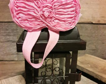 Pink Elastic Headband with Bow Shaped Flower