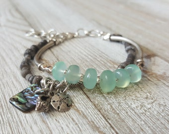Aqua Chalcedony Rondelle Adjustable Size Beaded Charm Bracelet with Ancient Glass, Karen Hill Tribe Silver, Sterling Silver, Abalone Shell