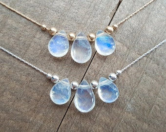 Amazing Blue Flash Rainbow Moonstone Pendant Floating Necklace - AAA - 14k Gold Filled - 925 Sterling Silver - Dainty - Simple - Elegant