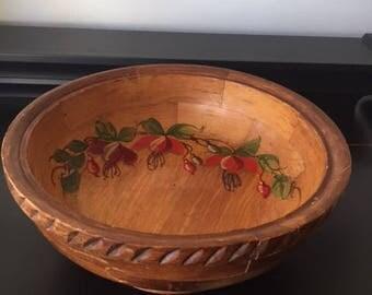 Vintage Handpainted Parquet Wood Bowl, 1950s Vintage Home Decor, Vintage Kitchen Decor