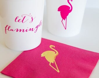 CLEARANCE SALE Let's Flamingle Flamingo Stadium Cups - Set of 10 - Ready To Ship