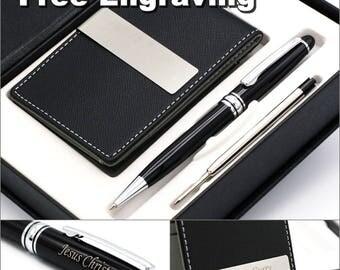 Free Engraving - Groomsmen Gift, Roller Ballpen, Ballpoint pen, Ball pen, Refill pen, Leather Money Clips, Card Holder,  Free Customization