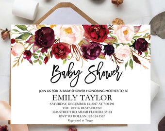 Floral Baby Shower Invitation, It's a Girl Shower Invite, Bridal Shower Card, Floral Baby Shower, Boho Girl Baby Invite, Instant Download B7