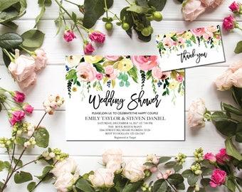 Wedding shower invitation, Wedding Shower Template, Couples Shower Invite, flower wedding shower invitation instant download, F7