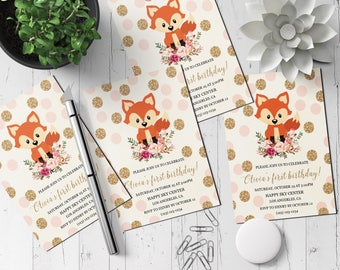 Birthday Party Invitation Printable, Floral Gold Glitter Invitation, Polka Dot invite, animal birthday invitation, animal birthday party, C1
