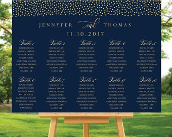 Gold Wedding Seating Chart, Wedding Seating Chart, Wedding seating template, Navy seating chart, Seating chart wedding, Gold navy chart, 102