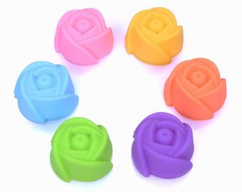 6 Rose Liners Silicone Mold Shaped for Cupcake Muffin Jelly Chocolate Pudding Baking Mold Cake Cup Liner Food Grade Desgin - 3 Size Options