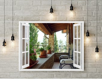 Country Home Decor, Cottage Wall Art, Kitchen Decor, 3D Wallpaper, Farmhouse Wall Mural, Open Window, Fake Window Art, Balcony Armchair