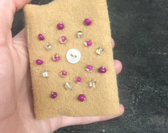 Tan, Floral, Beaded Mini Journal