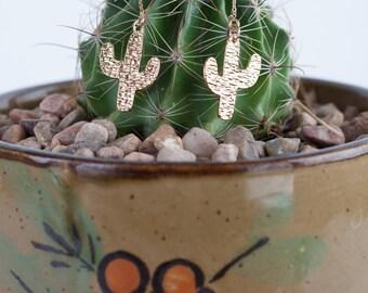 Gold Cactus Threader Earrings