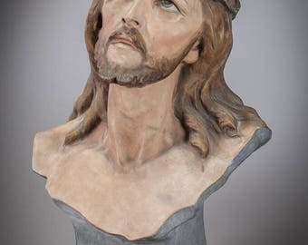 "22"" Ecce Homo Bust Polychromed Plaster Statue Man of Sorrows Jesus Christ Figure"