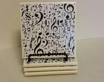 Music notes ceramic coasters