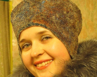 "Hat winter Rossiyanochka. Hat women's felt. Eco style. Woolen hat. Шапка валяная ""Россияночка"". Войлок ручной работы. Эко стиль."