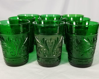 "10 Vintage Anchor Hocking Sandwich Forest Green Water Glasses 4"" Tumblers 9 oz"