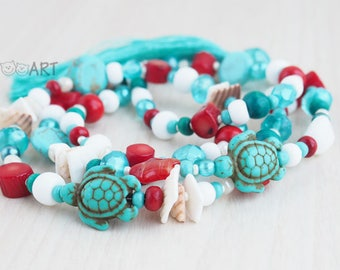 Summer sea turquoise necklace / handmade jewelry long necklace blue cyan red colors turquoise turtle beads tassel thread brush