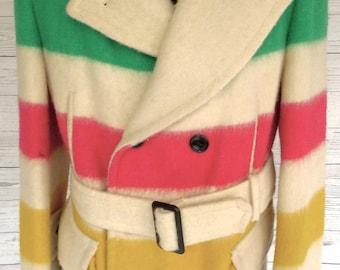 Classic HUDSON BAY Co Hbc 4 Point WOOL Blanket Coat Jacket Hudson's Bay Pea