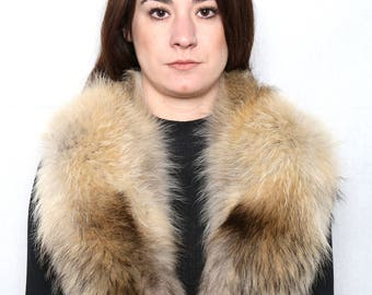 Genuine Real beige Natural Fin Raccoon  Fur Collar