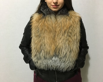 Gorgeous Beautiful Real Natural Golden-Silver-Black Fox Fur Big Collar- Scarf