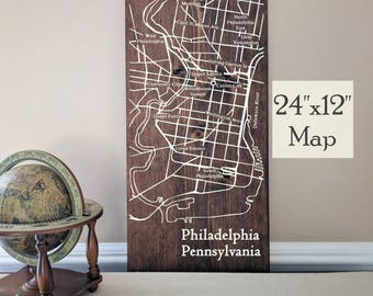 Philadelphia Map Wall Art, Large Wooden Map, Philadelphia City Map, Wooden Street Map, Custom Painted Map, House Address Map by Novel Maps