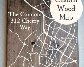 Custom 5th Anniversary Gift, Large Wooden Map, 5th Anniversary Map, Custom Painted Map, Wood Anniversary Map, Last Name Sign by Novel Maps