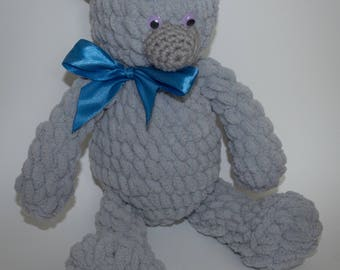 Teddy bear, handmade, crochet approx 34 cm, unique,