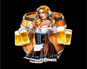 Beer maiden decal, mancave beer decal, beer women decal, pin up beer girl logo, Beer maiden logo, beer maiden mancave sticker