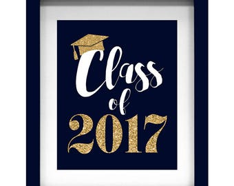 Graduation Party Decorations Navy Blue Gold Glitter - Instant Download - Set of 5 Printable Files for One Price!