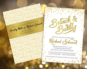 Brunch & Bubbly Bridal Shower Invitation, Luncheon, Baby Shower, Champagne, Bubbles, Gold, 5x7, 2 side design, Printable