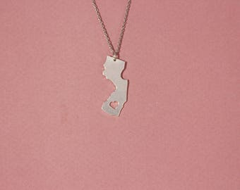 New Jersey necklace New Jersey state necklace sterling silver New Jersey pendant necklace heart New Jersey necklace