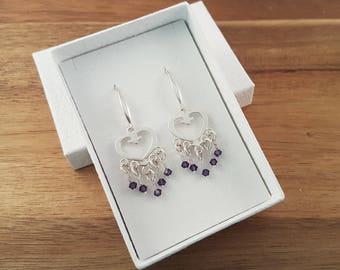Purple velvet Swarovski and sterling silver heart earrings