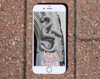 Rose Gold Number Balloons and Foil Font Birthday Snapchat On-Demand Geofilter