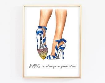 Paris wall art fashion illustration watercolor paris bedroom decor Eiffel tower decor Paris theme art print fashion sketch shoe fashion art