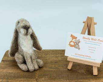 Needle felted hare - handmade by Woolly Wild Ones