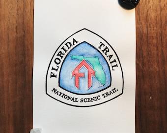 The Florida Trail Thru Hike Watercolor Trail Badge