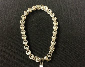 Sterling Silver Bracelet with clear aurora borealis Swarovski crystals