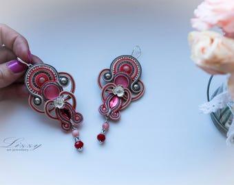Soutache pink chandelier earrings