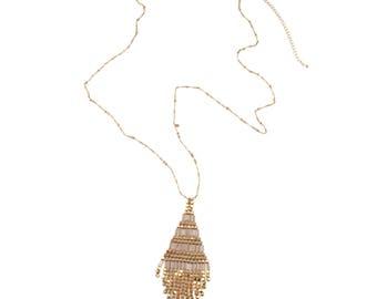 Long Gold & Blush Necklace