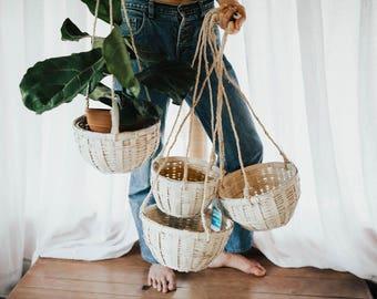 Vintage Hanging Wicker Planters