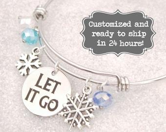 Elsa Anna Engraved - Let It Go Bracelet Frozen Elsa Anna Snowflake DISNEY Inspired Bracelet, Custom Name Charm Bracelet, Adjustable Bangle