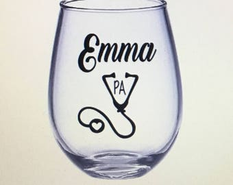 Physician assistant gift. Physician assistant wine glass. Physician assistant. Pa gift. Pa wine glass. Gift for physician assistant. Gift