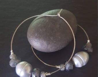 Grey Pearl, Larvikite and Sterling Silver Hoop Earrings.