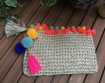 Neon Pom Pom Straw Clutch with Tassel Detail, Straw Bag, Straw Purse