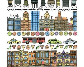 Brooklyn print, NYC print, New York print, Brooklyn bridge, New York taxi, Brooklyn brownstones, water towers, yellow cab, NYPD FDNY print