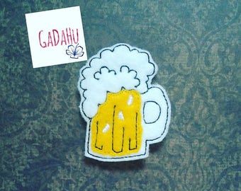Cute Beer Mug feltie. Embroidery Design 4x4 hoop Instant Download. Felties