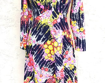 Vintage 1970s Maxi Dress/Groovy 70s Dress/1970s Polyester Dress/ Psychedelic Dress