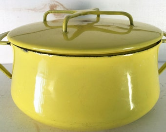 Vintage Dansk Kobenstyle Yellow Enamelware Dutch Oven Pot by Jens Quistgaard Early Ducks/farmhouse Style Kitch Enamleware Yellow Dutch Oven