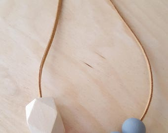 Pink beaded necklace, Geometric necklace, gift for her, Valentine's necklace, wood and clay bead necklace, chunky necklace, made in Cornwall
