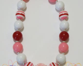 Little Girl Pink Flower Chunky Bubblegum Necklace, Girl Bubblegum Necklace, Toddler Necklace, Baby Necklace, Girls Jewelry, Chunky Beads