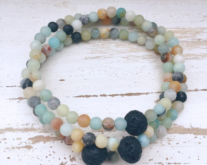 Set of 3 Black Lava Rock and Matte Amazonite Stacking Beaded Diffuser Bracelets for Essential Oils