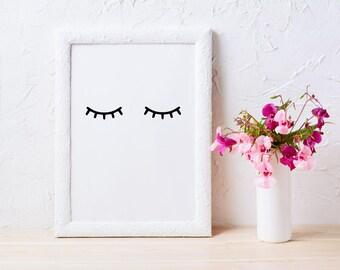 Eyelash Print, Eyelashes, Printable Art, Fashion Print, Minimalist Art, Instant Download, Wall Art, Lashes, Wall Decor